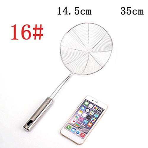 Strainer Skimmer Ladle Stainless Steel Metal Frying Basket with Long Handle Large Spoon Food Japanese Pasta Kitchen Oil Solid Professional Mesh Wire Satin Steel Spoon