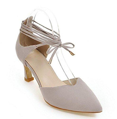 Tiras Court Mulheres Sandálias Shixr toe Camurça De Fechou De Alto Baotou Gray Sapatos Salto Bombas qrIrUx
