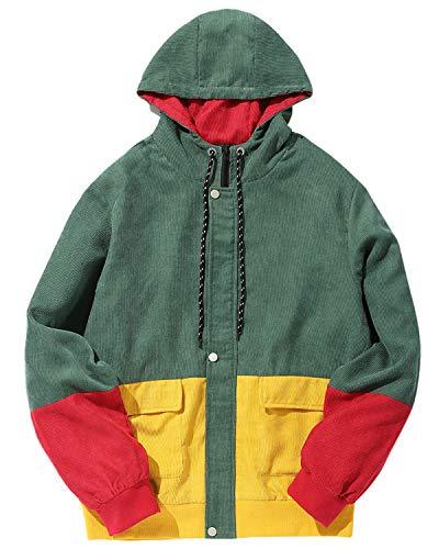 ZAFUL Herren Cord Kapuzenpullover Cordjacke FarbblockJacke Hoodie Strickjacke Mantel Jacke Sweater Sweatshirt Pullover Pulli Grün Medium