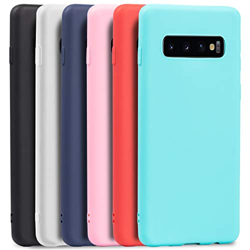 Wanxideng - 6X Cover Samsung Galaxy S10, Custodia Morbido Opaco in Silicone TPU - Matt Silicone Case [ Nero + Rosso + Blu Scuro + Rosa + Verde Menta + Traslucido ]
