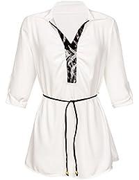 Laeticia Dreams Damen Tüll Long Top Shirt Tunika mit Gürtel 34 36 38 One Size