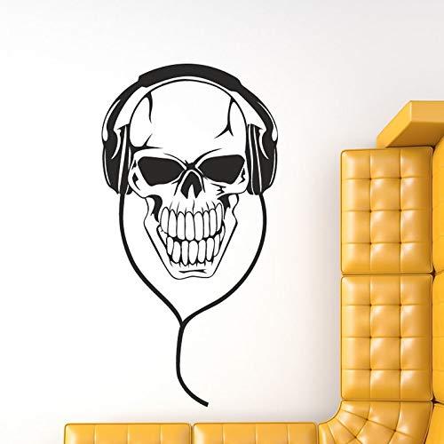 Aushöhlen Musik DJ Schädel Mit Kopfhörer Wandaufkleber Vinyl Abnehmbare Wohnzimmer Wohnkultur 44x88 cm