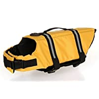 Aquiver Dog Lifesaver Safety Reflective Vest,Pet Life Jacket Size Adjustable Preserver Saver Life Vest Coat for Swimming Surfing Boating Hunting (M, Yellow)