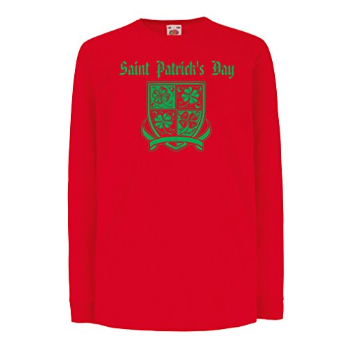 kinder-t-shirt-mit-langen-armeln-saint-patricks-day-shamrock-symbol-irish-party-time-7-8-years-rot-m