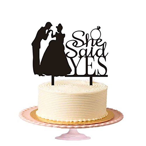 she-said-yes-wedding-cake-topper-sposo-baci-brides-mano-acrilico-topper-per-torta-in-nero