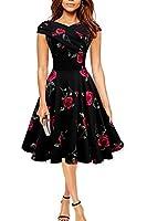 Find Dress 50er Jahre Vintage-Kleid Retro Audrey Hepburn Rockabilly Kleid mit roten Blumen