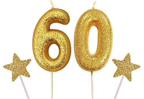 Gadget - Vela con Purpurina para Tarta de cumpleaños, diseño de número Azul Gigante, Dorado, Number 60