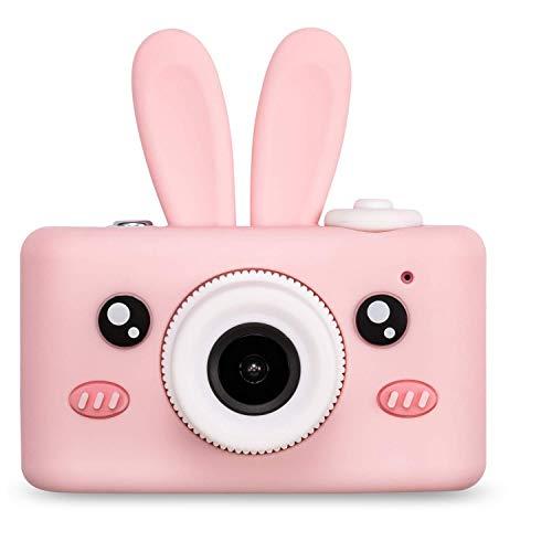 Cámara para niños 2.0 Pulgadas 8MP HD Video Cámaras Digitales Cámara de Video para niños Regalos de cumpleaños de Navidad para niñas Incluye Tarjeta de Memoria de 16GB(Caso de Conejo y Cámara Rosa)