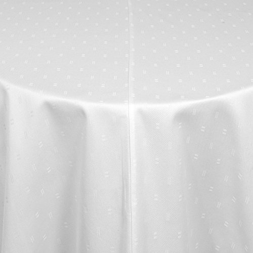 Tischdecke Damast rund 260 cm Vollzwirn 100% Baumwolle mit Zwischennaht Texmaxx HH in Weiss, Gastro bzw. Hotel Qualität, Größe wählbar