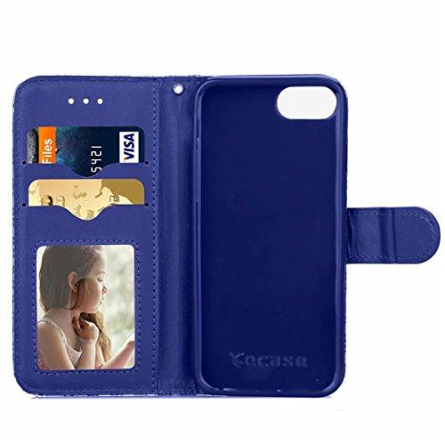 iPhone 7 Plus Coque, Apple iPhone 7 Plus Coque, Lifeturt [ Bleu ] Motif Pure Couleur Housse en Cuir Case à Avec La Fonction Stand Coque de Intérieure Protection Souple Coque Portefeuille TPU Silicone  E2-Bleu foncé