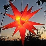 Außenstern-55 cm - rot mit gelben Spitzen - Komplettset incl. Kabel & Leuchtmittel (auswechselbar) Adventsstern Weihnachtsstern Faltstern, kein Trafo nötig