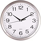 "Silver Quartz ""silent tick"" Wall Clock- ideal for use in the office, home or kitchen. Quality quartz movement means the clock is very accurate. The silent sweep means none of that annoying ticking!"