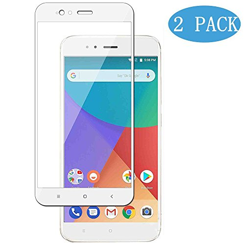 [2-unitats] XiaoMi Mi A1(5X) Protector de Pantalla, Modoca La protección más simple y eficaz de la pantalla [cobertura Completa] Protector Vidrio Templado para XiaoMi Mi A1(5X), blanc