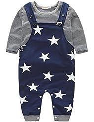 Internet Bébé Garçons enfants Manches longues Rayé T-shirt + étoiles Impression Pantalon de bavoir tenues ensemble