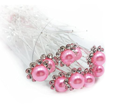 Accessoires mariage soirée bijoux cheveux 1 épingle à chignon perle rose à strass