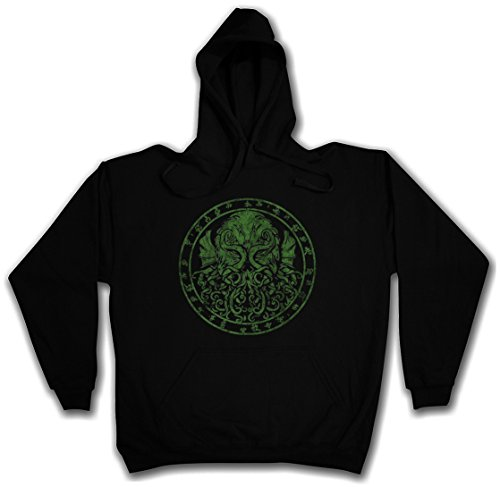 CTHULHU RUNES HOODIE HOODED PULLOVER SWEATER SWEATSHIRT MAGLIONE FELPE CON CAPPUCCIO - Sizes S - 2XL Nero