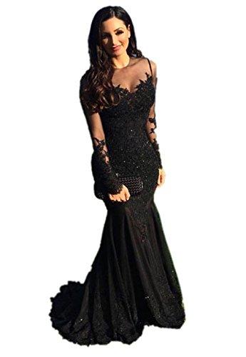 11bbaecc0b6f5d *NUOJIA Damen Tüll Spitze Ballkleider Meerjungfrau mit Lange Ärmel Elegant  Abendkleider Schwarz 40