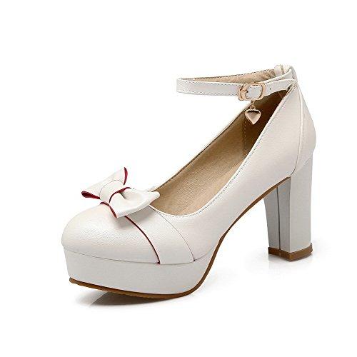 VogueZone009 Damen Pu Leder Rein Schnalle Rund Zehe Hoher Absatz Pumps  Schuhe Weiß