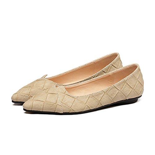 Damen Slipper Spitz Zehen Rautenförmige Prägung Slip on Rutschhemmend Atmungsaktiv OL Büro Freizeit Modisch Schuhe Aprikose