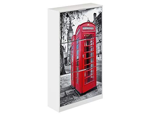 Movian Constance Modern - Armario zapatero de 3 puertas Londres, 25 x 75 x 128 cm estampado