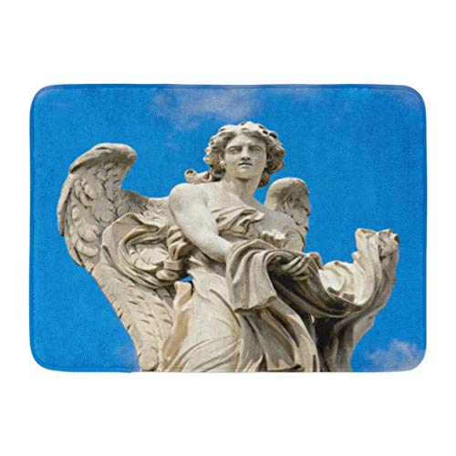 TEPEED Bath Mat Bernini White Antique Angel with The Garment and Dice Rome Italy Archangel Sculpture Bathroom Decor Rug 15.7