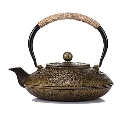 Cuivre Vintage Fonte bouilloire à thé, rétro classique Théière Bouilloire en acier inoxydable avec infuseur, 1200ml oreille japonaise blé Teapot