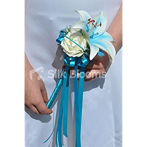 Beautiful-Blu Con Centro Stargazer Lily and Ivory Flower Girl Wand Rose Wedding
