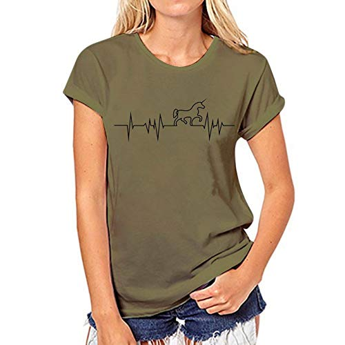 Xiaobaozitxu maglietta donna maglietta maglietta donna maglietta lady maglietta cavallo verde stampata lettersvogue tshirt xl