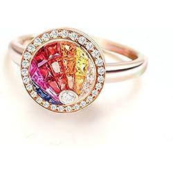 Gnzoe 18K (750) Oro Mujeres Anillo de Diamante Anillo Solitario Anillos de Aplicaciones Flores Rose Oro con Colorido 0.86ct Diamante Tamaño 11