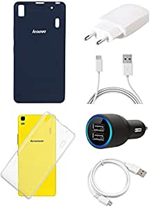 NIROSHA Cover Charger Car Charger USB Cable for Lenovo A7000 - Combo