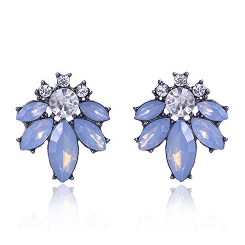 HIWSSH Ohrring Colorful Crystal Stone Women Piercing Ohrrings Rhinestone Inlaid Silver Color Metal Stud Ohrrings Christmas Gift Jewelry opal light blue