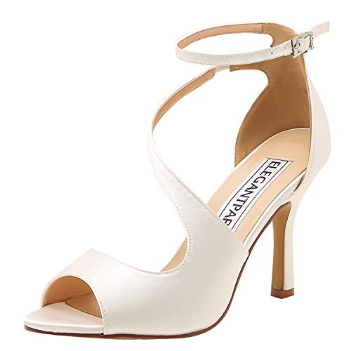 Elegantpark hp1565 donna peep toe tacco alto tacco a spillo fibbia raso ballo partito sposa sandali avorio eu 40