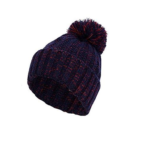 Womens Beanie,Clode® Women Lady Girls New Fashion Design Hat Winter Crochet Knit Beanie with Bobble Warm Cap Pom Pom (Dark Blue)