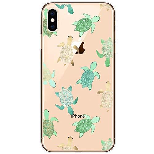 iPhone Xs Hülle, iPhone X HandyHülle Silikon Ultra Dünn Transparent mit süße Tiere Schildkröte Ozean Muster Weiche Slim TPU Bumper Stoßfest Durchsichtig Schutzhülle für iPhone Xs/iPhone X(5.8 Inch) (Tiere Ozean Süße)