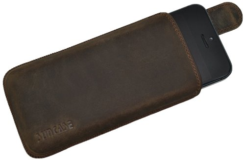 Original Suncase Tasche für Apple iPhone 5 / iPhone 5S / SE Leder Etui Ledertasche Schutzhülle Case Hülle - Lasche mit Rückzugfunktion* in antik braun (Antik-bits)