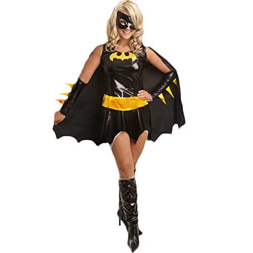 Doriscos Damenkostüm Batgirl Halloween Karneval Schwarz Maskerade ()