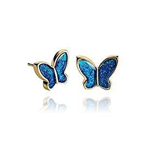 Sparkling Royal Blue Butterfly Fashion Small Stud Earrrings for Lady in the gift box