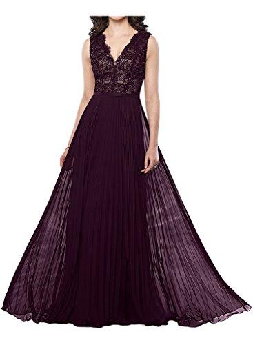 Royaldress Lila Spitze Elegant Langes Abendkleider Partykleider Brautmutter Festlichkleider Neu Dunkel Traube