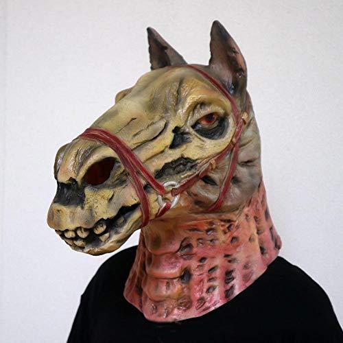 Circlefly Halloween Zombie Pferd Kopfmaske Schädel Champ Gesicht Requisiten beängstigend Latex Maskenball Perücke