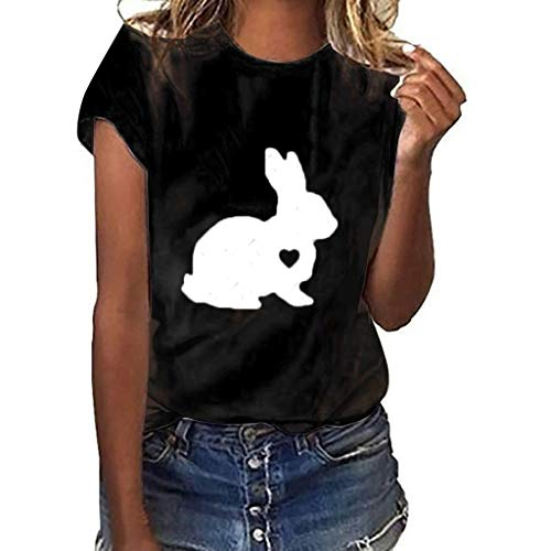 Qmber Ostern Damen Shirts Tops Kurze Ärmel 2019 Frühling Sommer Elegant Bluse Daily Basics Party Bluse Oberteile T-Shirt Kurzärmliges T-Shirt mit Kaninchenmuster/Black,M (Baby-mädchen Irland Halloween-kostüme)