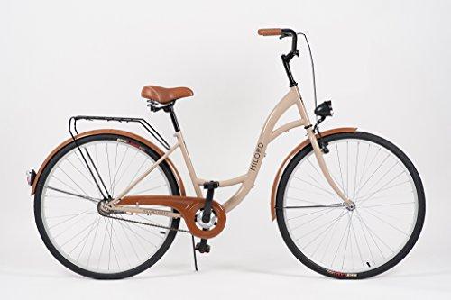Milord. 2018 Komfort Fahrrad mit Rückenträger, Hollandrad, Damenfahrrad, 1-Gang, Braun, 28 Zoll