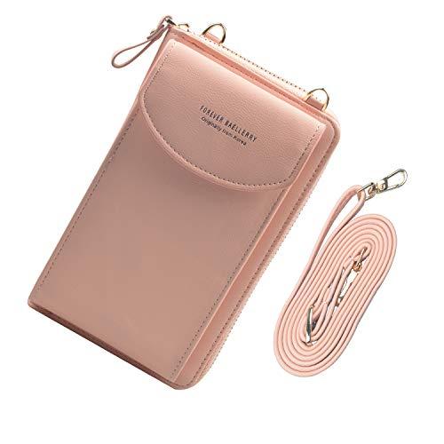 Jangostor Petit Portefeuille de Sac à Main de téléphone Portable de Sac à bandoulière avec des Fentes pour Carte de crédit pour Femmes (Light Pink)