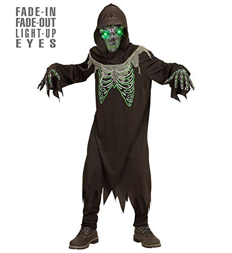 Grim Mit Maske Reaper Kostüm - shoperama Sensemann Kinder-Kostüm mit leuchtenden Augen für Jungen Fade-In Fade-Out Licht-Effekt Robe Kapuze Maske Halloween, Größe:164