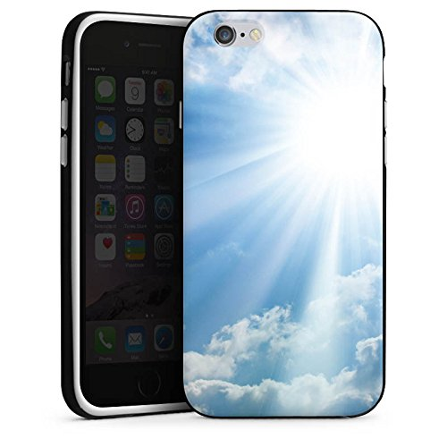 Apple iPhone 4 Housse Étui Silicone Coque Protection Nuages Rayons de soleil Ciel Housse en silicone noir / blanc