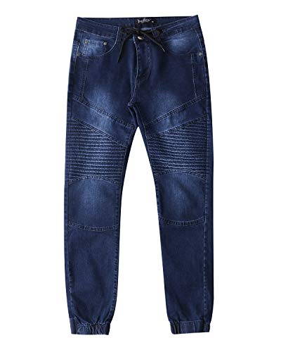MODCHOK Herren Jeans Denim Hose Basic Stretch Jeanshose Motorrad-Hose Slim Regular 3 Blau XL