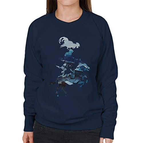 Animal Piggyback Outline Womens Sweatshirt Navy blue
