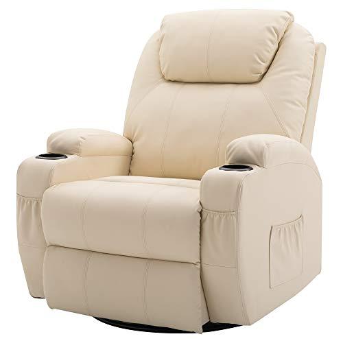 Homcom Fauteuil canapé Sofa Relaxation massant Chauffant et Vibrant inclinable pivotant à 360° Simili Cuir 92L x 84l x 109Hcm Beige