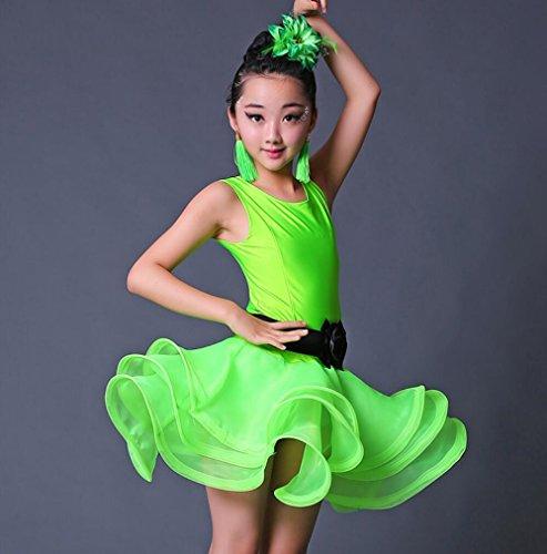ür Kinder Latin Kostüm Kindertanz Praxiskleidung Latin Dance Performance Match Wear Rose Grün Blau, 160cm, green (Latin Dance Kostüme Kinder)