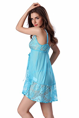haodasi Frauen V-Low-Cut-Kleid / reizvolle transparente Spitze sleeveless Unterwäsche Lighe blue