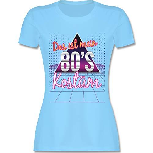 Karneval & Fasching - Das ist Mein 80er Jahre Kostüm - L - Hellblau - L191 - Damen Tshirt und Frauen T-Shirt